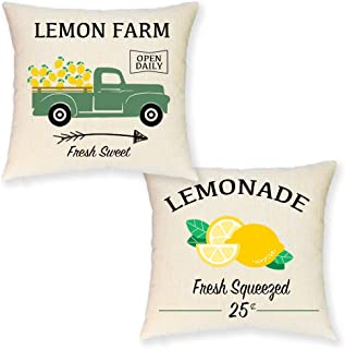JYNHOOR Set of 2 Farmhouse Lemon Pillow Covers – Retro Green Truck Lemon Summer Pillow Covers for Home Decor-Lemonade Decorative Pillowcase-18x18 Inch