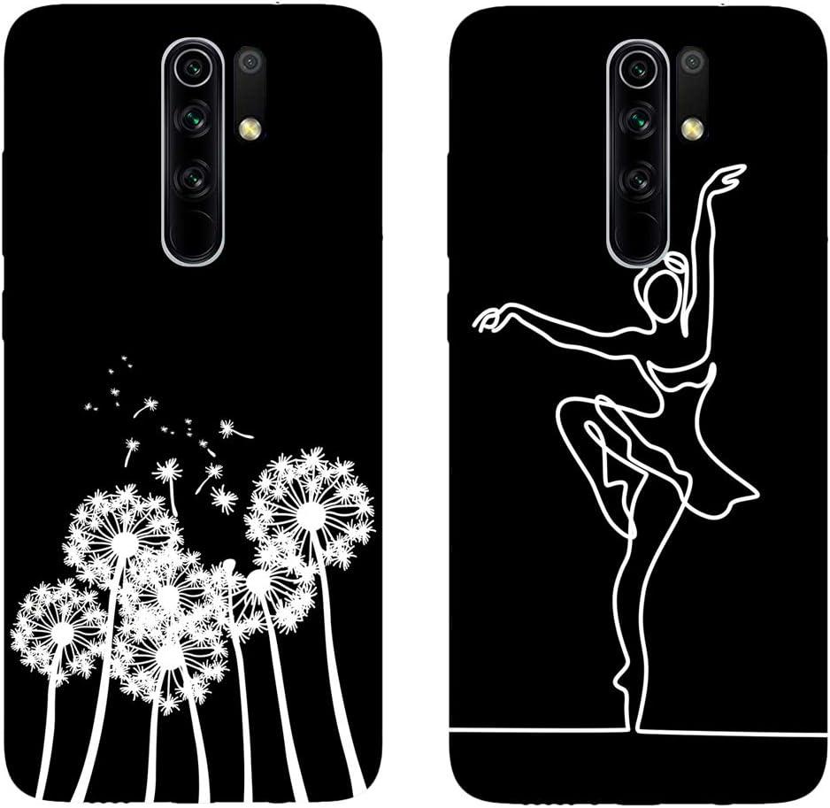 DiaryTown para 2 Pack Negro Funda Xiaomi Redmi 9 Silicona Blando Latidos del coraz/ón del Amor Carcasa Redmi 9 Funda Resistente Dibujos Gracioso Cover Fina Antigolpes Case