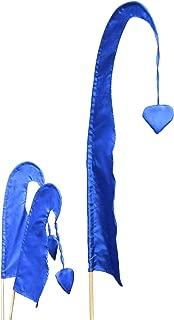 DEKOVALENZ Bandera de Bali Little SANUR con Mástil de Madera, Punta en Forma de Corazón, Longitudes, Longitud:120 cm, Color:Azul