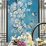MILUSEN Mural de flores y pájaros, papel tapiz azul
