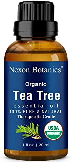 Organic Tea Tree Oil 30 ml - Certified USDA, Pure, Natural Undiluted Therapeutic Grade Tea Tree Essential Oil For Hair, Face, Skin, Acne and Scalp - Melaleuca Alternifolia Oils Nexon Botanics