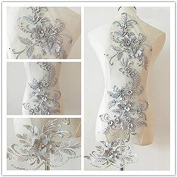 1 Piezas Diamante de Imitación Plata ZARI bordado más recientes de la India Apliques//Parche De Manualidades