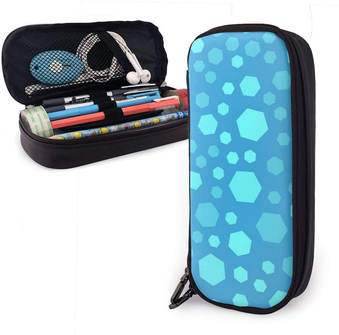 Light-blue-polygon PU Leather Pouch Storage Bags Portable Student Pencil Office Stationery Bag Zipper Wallets Makeup Multi-function Bag: Amazon.es: Oficina y papelería
