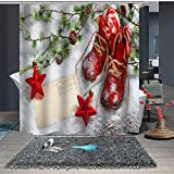 Nieve Botas Rojas Estrellas Rojas La Cortina de Ducha Decorativa se Puede Lavar y secar,10ganchos,120X180cm,Adecuada para el baño