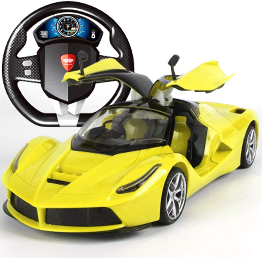 AIOJY 1:14 Openable Door Steering Wheel Sports Car Four-wheel Drive Off-road Car Elegant Toy Car Remote Control Simulation Handle Remote Control Car The New Parent-child Charging Child Electric Climbi