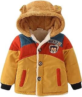 FWEIP Child Winter Cartoon Bear Hooded Jacket Kids Boys Cotton Clothes Button Warm Down Coat Christmas Outwear