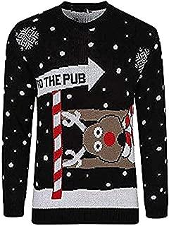 Hombre Navidad Threadbare Ho Ho Snow Tree Al Horno Patr/ón de Rayas Rojas Novedad Jumper