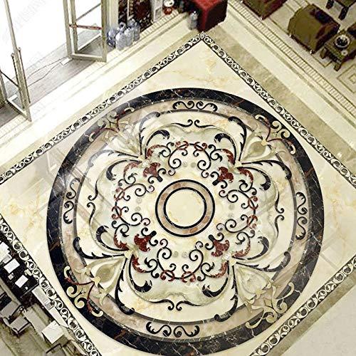 Azulejos de mármol para suelo 3D Mural Sala de estar Hotel Etiqueta de pintura de suelo de lujo PVC Murales de suelo a prueba de agua-150 * 105cm
