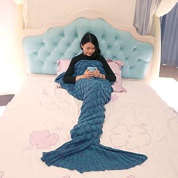 YOHOKO マーメイドブランケット ひざ掛け 着る毛布 インテリア 防寒 冷房対策 寝具 人魚毛布 男女兼用 190x90cm (ブルー)