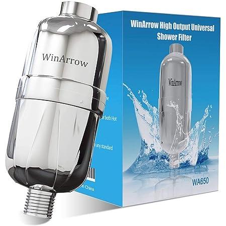 Winarrow- Filtre à Douche Remplaçable, Long Universel et à Haute Puissance Douche Filtre pour Chaud Froid Améliore Hygiène avec Bande de Téflon - WA650 Argent