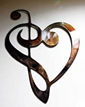 """Musical Notes Cleff Heart Metal Wall Art 9"""""""