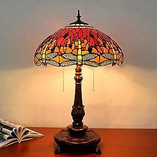 Lampe de Table 45cm Style européen émail Rouge vitrail Salon Chambre Lampe de Chevet Bar Cadeau de Mariage Lampe de Table