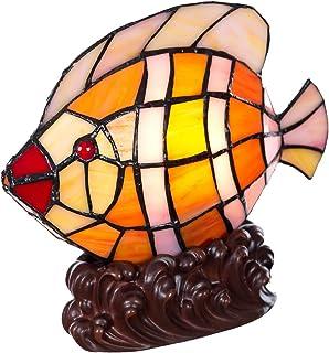 Lámpara de estilo Tiffany con forma de gato, pez, caballo, mariposa, lámpara de cristal, lámpara de mesa, lámpara de mesa (motivo de pez)