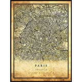 Paris map Vintage Style Poster Print   Old City Artwork Prints   Antique Style Home Decor   France Wall Art Gift   Old map Print 8.5x11