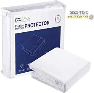 Docamor Full Size 100% Waterproof Mattress Protector, Hypoallergenic Mattress Cover with Premium Cotton Terry Surface - Vinyl Free - Life time Warranty
