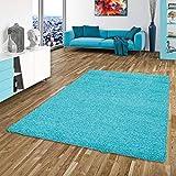 Aloha Shaggy-Alfombra de pelo largo redonda, 8 tamaños disponibles, azul claro, polipropileno, 60 x 110 cm