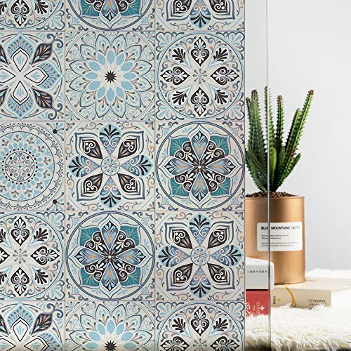 """MSUP Window Film Privacy, Decorative Opaque Non-Adhesive Window Stickers, Paint Frosted Static Cling Window Decal (Kaleidoscope, 17.7"""" Wx78.7 L)"""