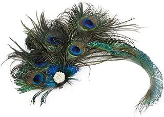 Urban CoCo Women's Indian Peacock Feather Headband Hair Clip Flapper Headpiece