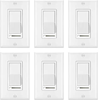 [6 Pack] BESTTEN Rocker Dimmer Switch for Dimmable LED, Halogen and Incandescent Bulbs, Single-Pole or 3-Way, 120V, UL Listed, White