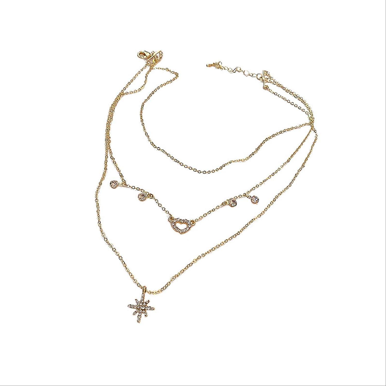 ODNJEMSD Stylish Multi-Layered Zircon Mango Coll Necklace Cash special price Ranking TOP4 Collar