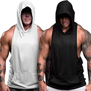 nine bull Men's Workout Hooded Tank Tops Sleeveless Gym Hoodies Bodybuilding Muscle Sleeveless T-Shirts