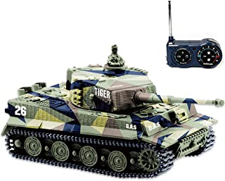 BlueFit German Tiger I Panzer Tank with Remote Control, Battery, Light, Sound, Rotating..