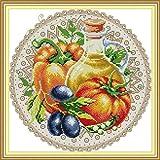 Bordado Kit de punto de cruz para adulto Tomate confitado Preimpreso Imágenes 40x50cm DIY Art Kit de punto de cruz decoración del hogar para Principiante la Regalo (11CT Preimpreso Tela