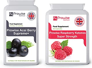 Acai Berry 1000mg 120 Capsules + Raspberry Ketones 600mg 60 Capsules – UK Manufactured to GMP Guaranteed Quality - Suitable for Vegetarians & Vegans by Prowise Healthcare