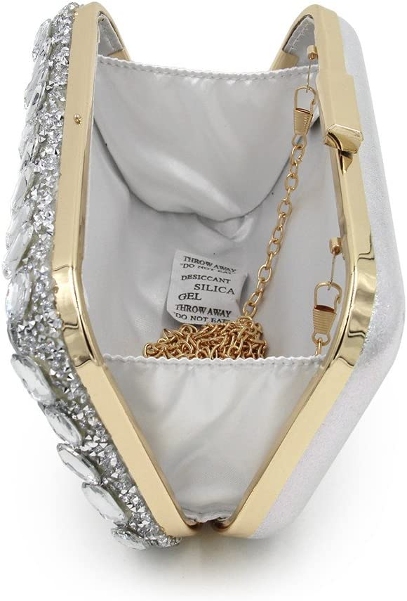 Sac De Soirée Nouvellement Mousseux Strass Sac De Soirée Lady Banquet De Cosmétique Sac Nuptiale De Mariage Pochette pour La Noce (Color : Coffee) Silver
