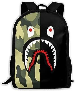 Ba-pe Shark Half Green Camo Unisex Backpack Shoulder Bag School Backpack Travel Bags Laptop Backpack