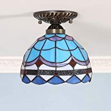 Tiffany Style Ceiling Light,Stained Glass Shade Flush Mount Ceiling Lamp,Vintage Blue Mediterranean Ceiling Lighting Fixtu...