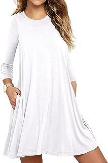 9b0110e47a Unbranded  Women s Long Sleeve Pocket Casual Loose T-Shirt Dress