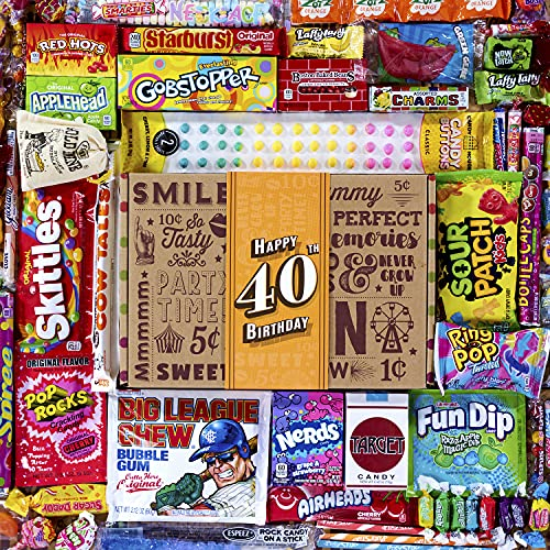 VINTAGE CANDY CO. 40TH BIRTHDAY RETRO CANDY GIFT BOX - 1981 Decade Childhood Nostalgic Candies - Fun Funny Gag Gift Basket - Milestone FORTIETH Birthday - PERFECT For Man Or Woman Turning 40 Years Old