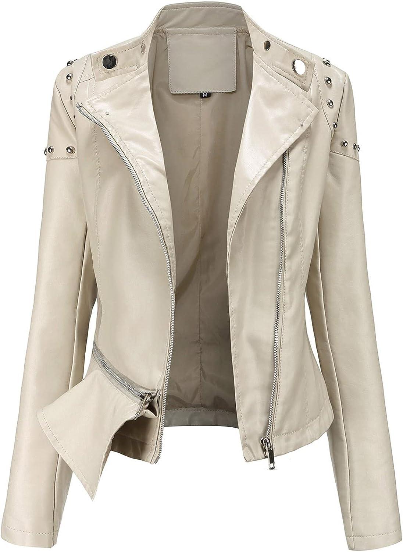TLOOWY Women's Faux Leather Jacket Ladies Teen Girls Fashion Zip Up Long Sleeve Motor Biker Jacket Coat
