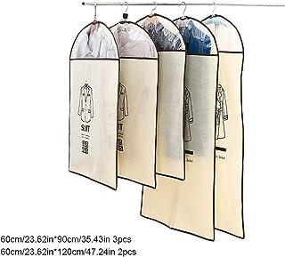 Pinji Housse de V/êtements Voyage Pliable Housse Costume Anti-poussi/ère Respirante avec Deux Poign/ées pour Chemise Manteau Robe 60 101cm Caf/é
