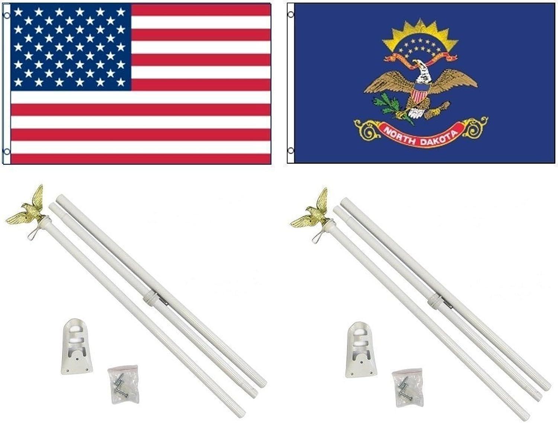 3x5 3'x5' USA American w  State of North Dakota Flag w  Two 6' White Flagpole Pole Kits Eagle Topper