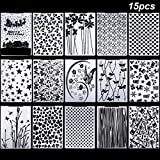 15 Pieces Embossing Folders 5.7 x 4.2 Inch Plastic Template Craft Card Christmas for Making Paper Cards Photo Album Wedding Decoration Scrapbooking