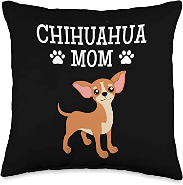 Chihuahua Designs by Margaretha Chihuahua Mom for Women and Girls Throw Pillow, 16x16, Multicolor