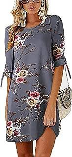 Women's Casual Shift Dress Floral Crew Neck 3/4 Sleeve Mini Casual Dress