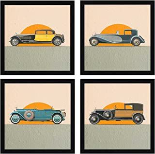 ArtX Paper Vintage Cars Wall Art Framed Paintings, 21 X 21 inches(Combined), 10.5 X 10.5 each, Abstract, Multicolor, Set of 4