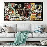 SIRIUSART Jean Michel Basquiat 《Notary》 Graffiti Art Canvas Pintura al óleo Póster de Arte Cuadro Decorativo Decoración de Pared Decoración del hogar (70x140cm) 28'X55 sin Marco