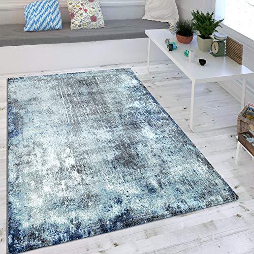 Wohnzimmer Teppich Indigo Blau Trend Modern Maritimer Stil Shabby Chic Design, Grösse:160x230 cm
