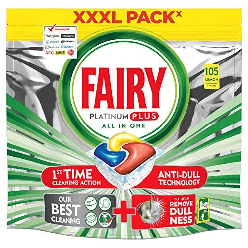 Fairy Platinum PLUS - Spülmaschinentabs All-In-One Tasche mit 105 Kapseln Zitrone, Lemon Geschirrspültabs, Geschirrspülmittel Tabs in Sparpack