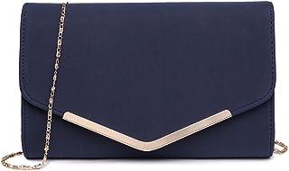 Miss Lulu Elegante Kettentasche Damen Tasche Clutch Bag Handtasche Hochzeit Abendtasche Umhängetasche Mädchen (LH1756 Dunk...