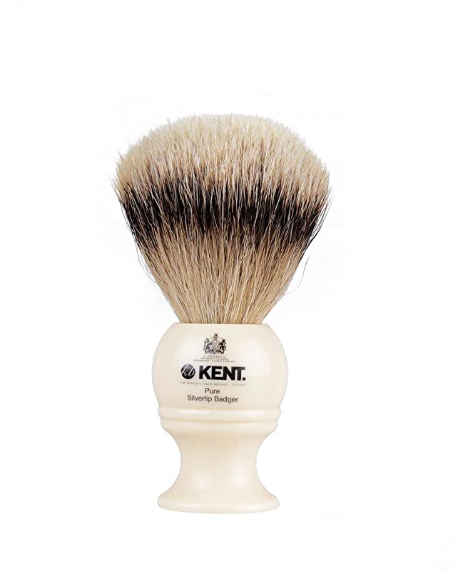 リーチ使役トランクライブラリKENT BK4シェービングブラシ Shaving Brushes シルバーチップアナグマ シェービングブラシ (Mサイズ) 白