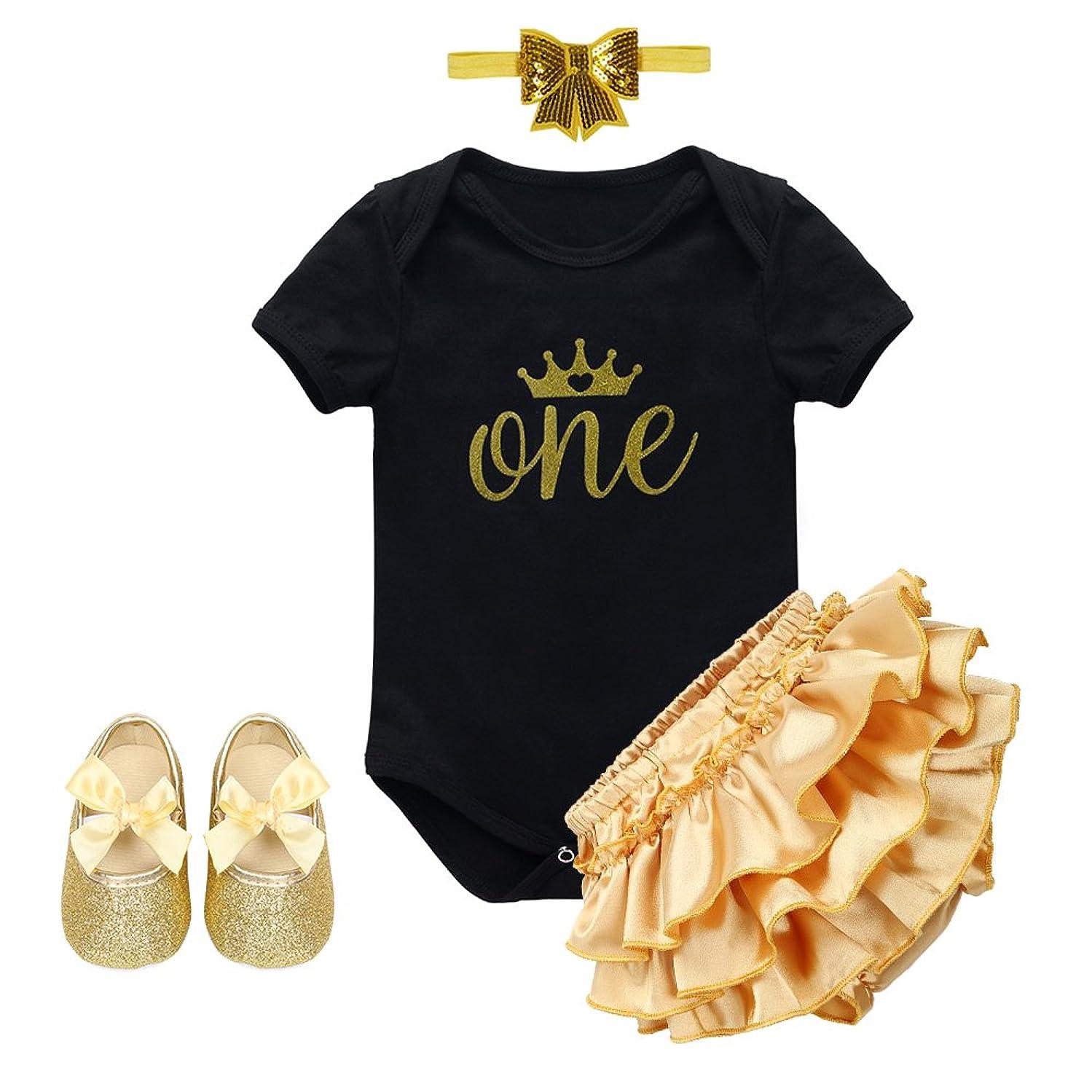 Baby Girl 1st Birthday Cake Smash Crown Bodysuit Romper Tutu Skirt Headband Outfits Clothes Set