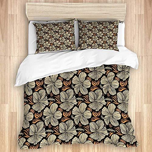 Juego de funda nórdica de 3 piezas, varias flores florales tropicales hawaianas de hibisco en colores beige sobre un fondo negro, juegos de fundas de edredón para dormitorio, colcha con cremallera con