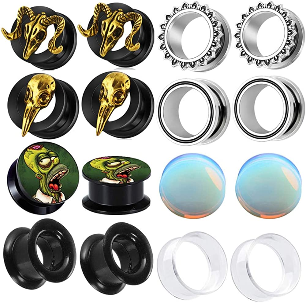 8 Pairs Stainless Steel EarTunnel Plugs Gauge Stretcher Women Men Body Piercing 00g 2g Silicone Opal Acrylic