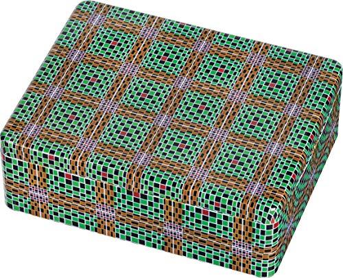 WAX Teebox - Motiv Grün-Braune Karos: mit 6 Fächern