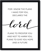Andaz Press Unframed Black White Wall Art Decor Poster Print, Bible Verses, Jeremiah 29:11 for I Know The Plans I Have for You, Plans to Prosper You, Plans to give You Hope and a Future, 1-Pack